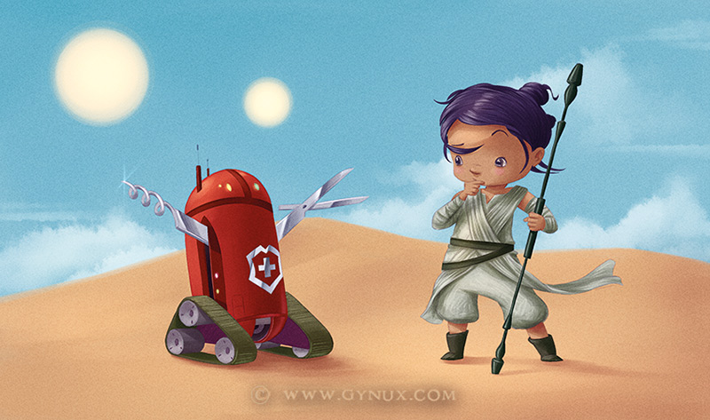 Rey and swiss army droid