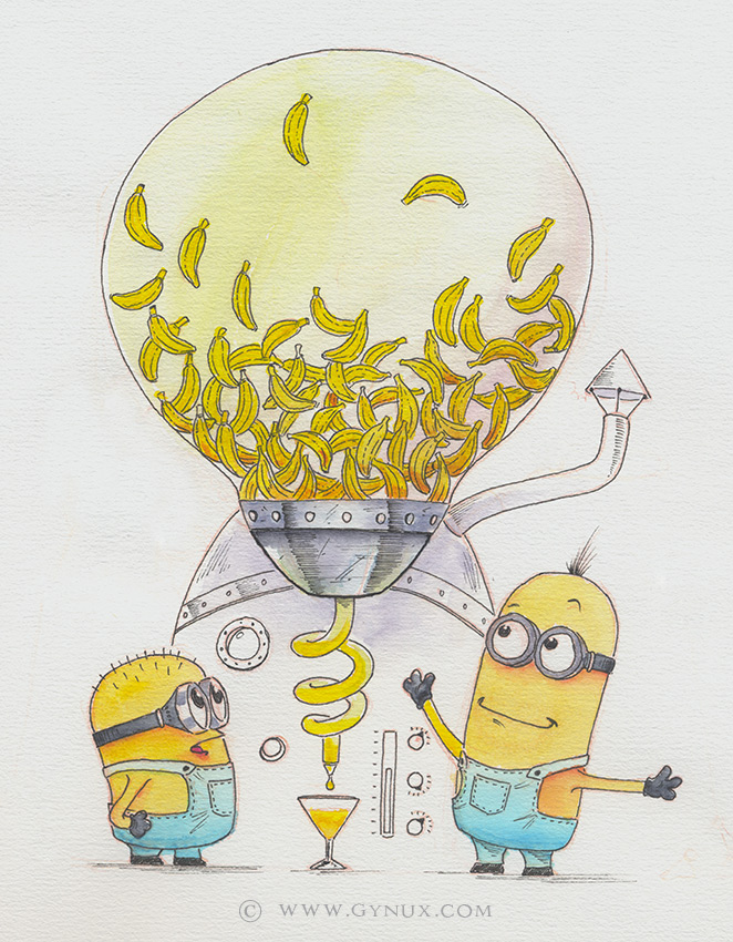 Minions and a banana-matic machine