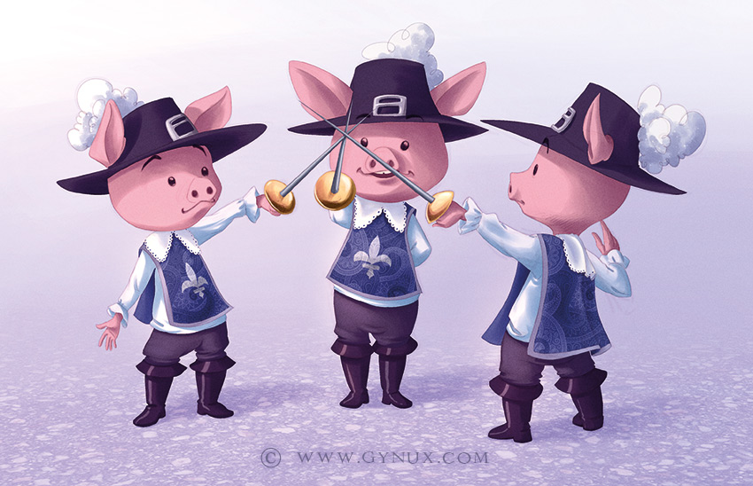 three little musketeers pigs