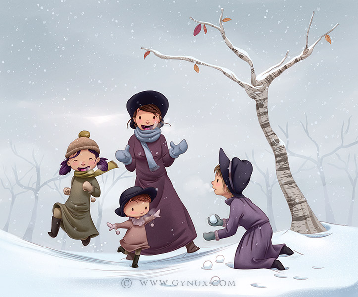 Little women playing in the snow
