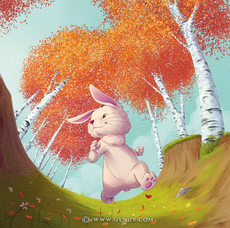 A rabbit jogging among birch trees