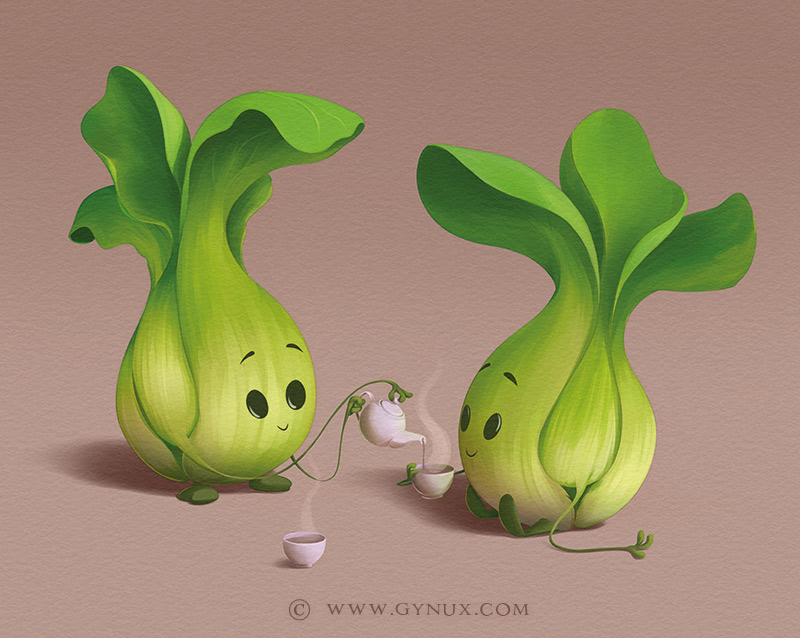 Two bok choy having tea time