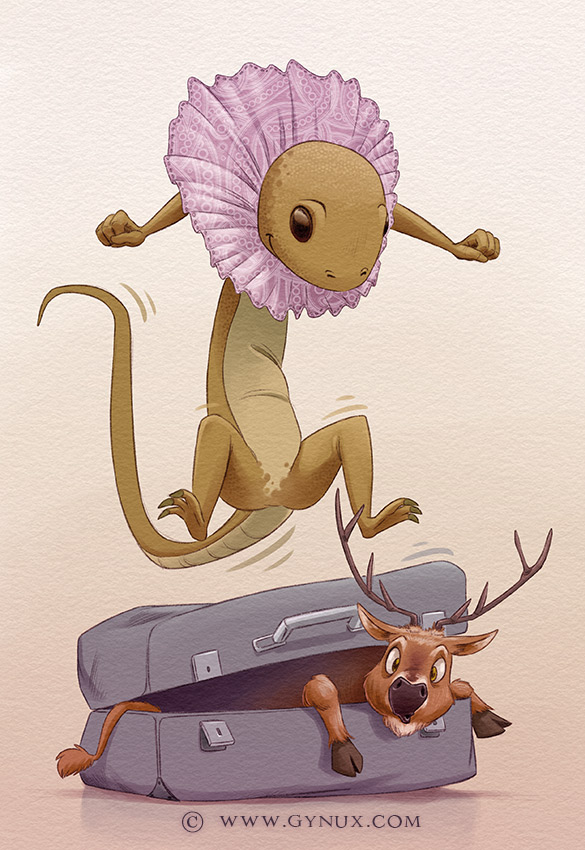 A frilled Lizard jumping on a suitcase containing a deer