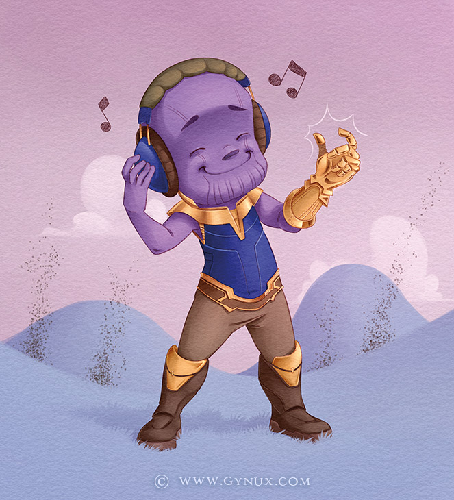 Thanos finger snapping to music