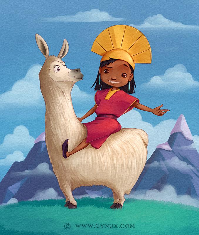 A Peruvian kid sitting on a llama