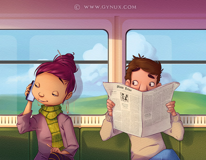 Two passengers in a train, one using a phone and the other listening