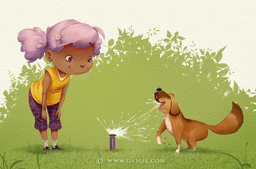 A kid and her dog playing with a sprinkler in the grass
