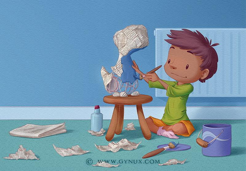 A kid making a paper dinosaur