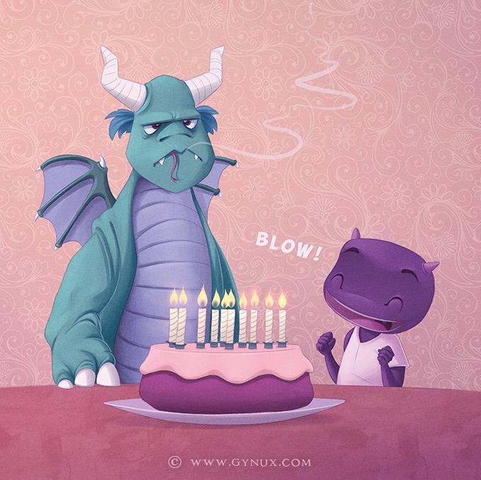 A dragon's birthday cake
