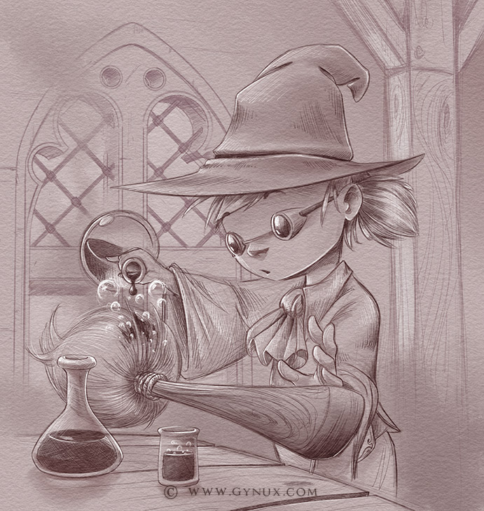 A Little witch refueling a magical broom