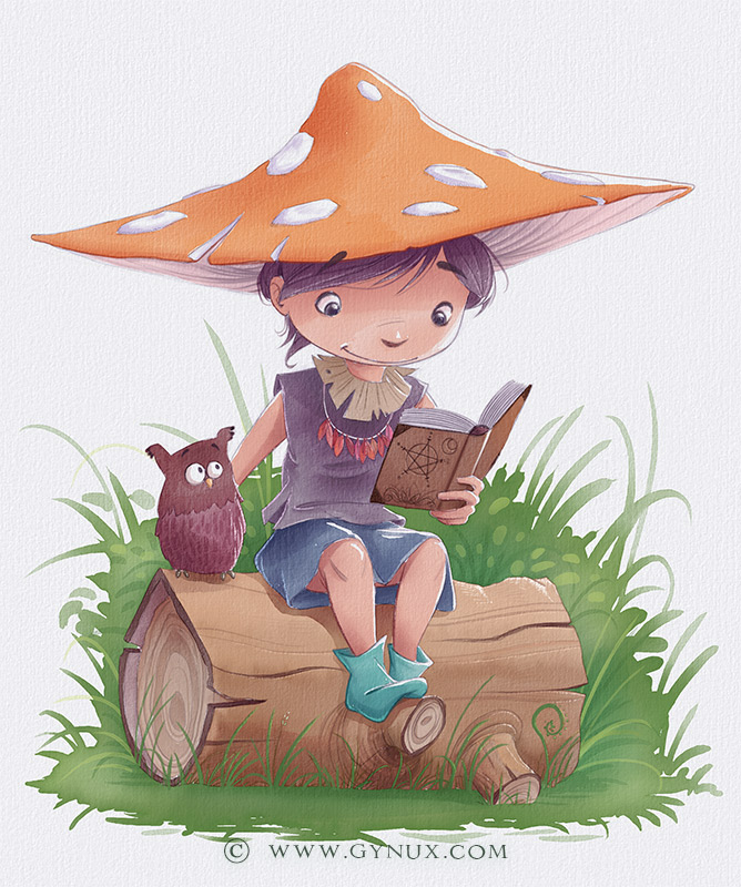 A little witch reading a spell book