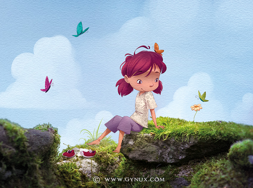 Girl chilling outside with butterflies