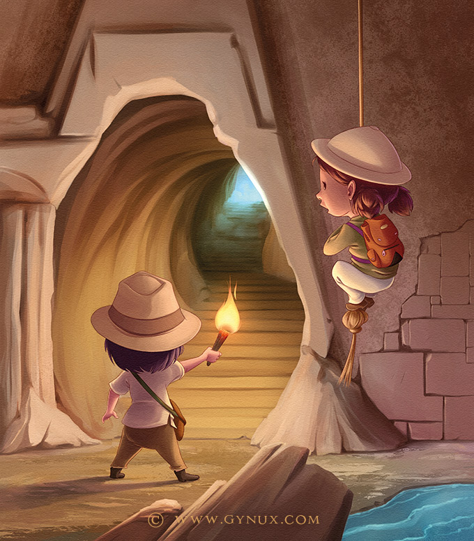 Little explorers in ancient ruins