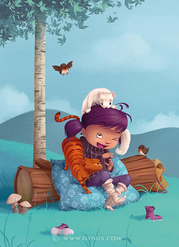 Little kid playing her little friends