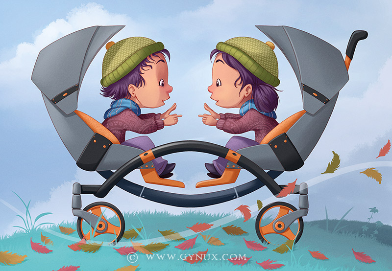 Twins in a stroller