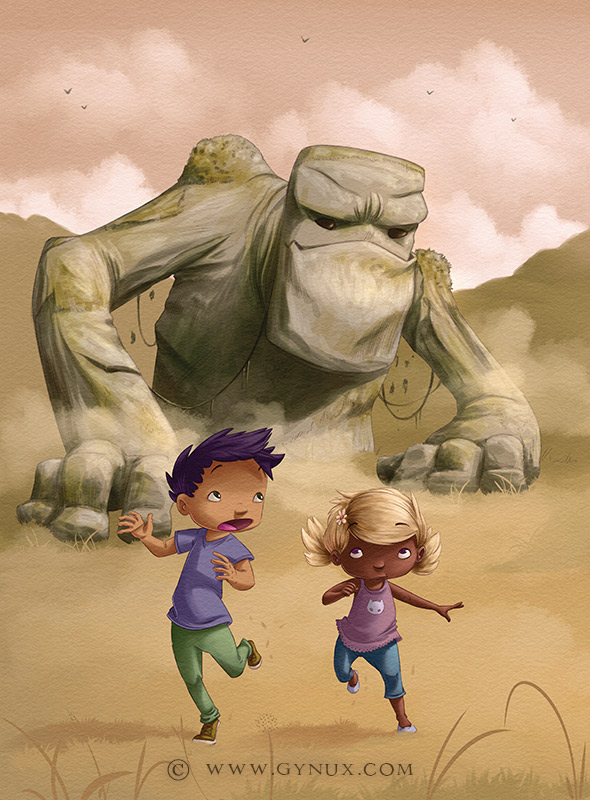Two kids running in front of a colossal stone man