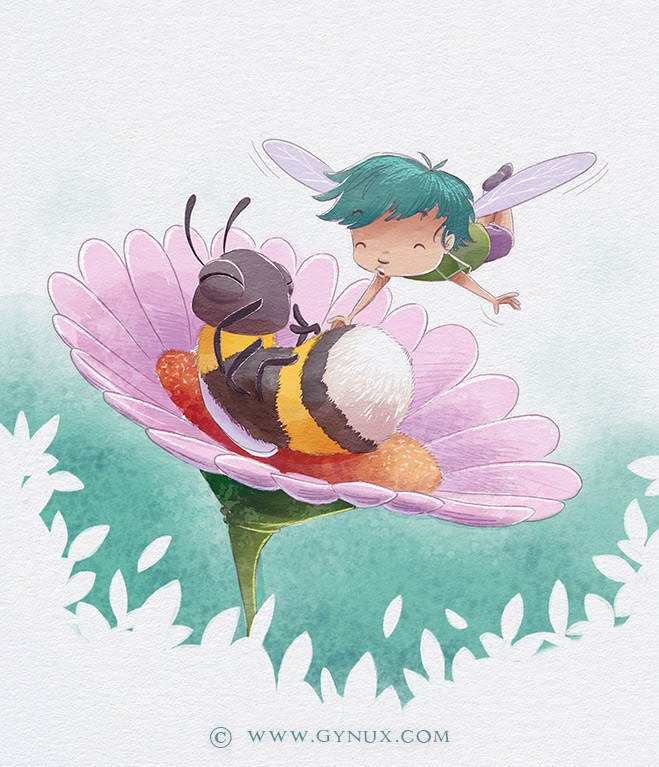 Little fairy and bumblebee