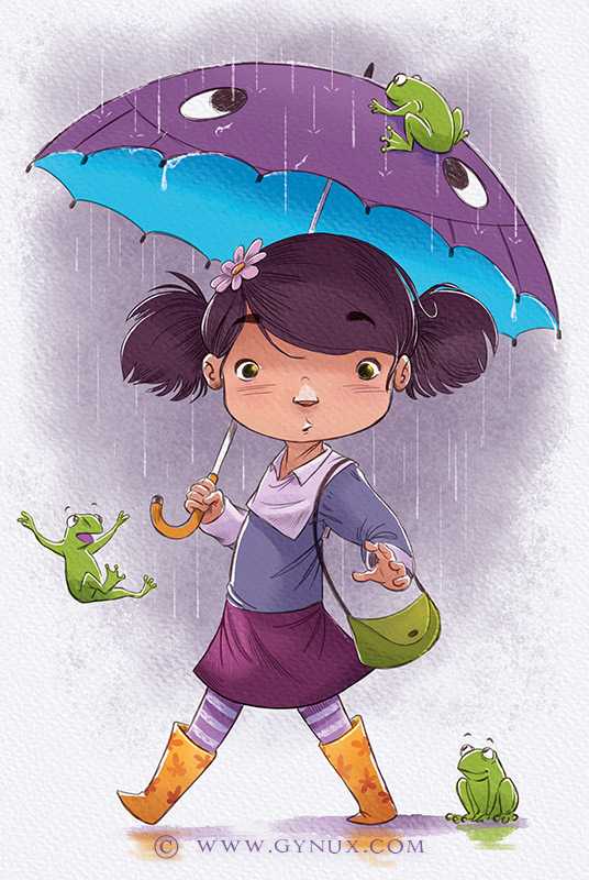 Little girl outside during a rainy day with frogs falling from the sky