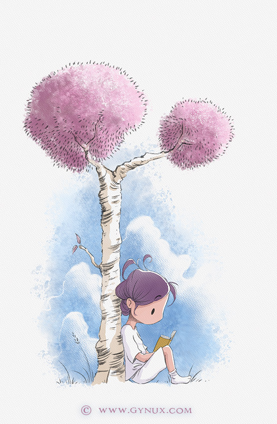 Little character reading a book leaning on a tree
