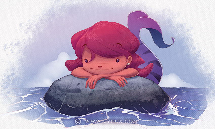 A little mermaid resting on a rock