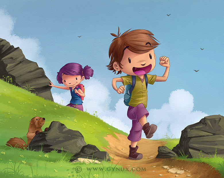 Two kids going for a hike in the mountains