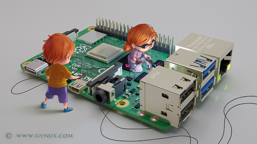Little engineers working on a raspberry pi
