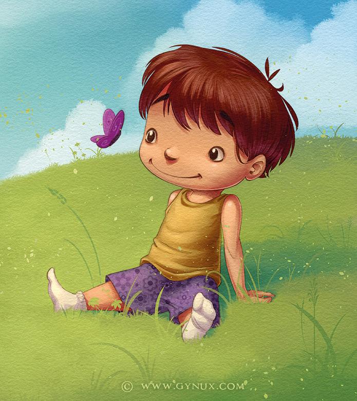 Little kid sitting in the grass, watching butterflies