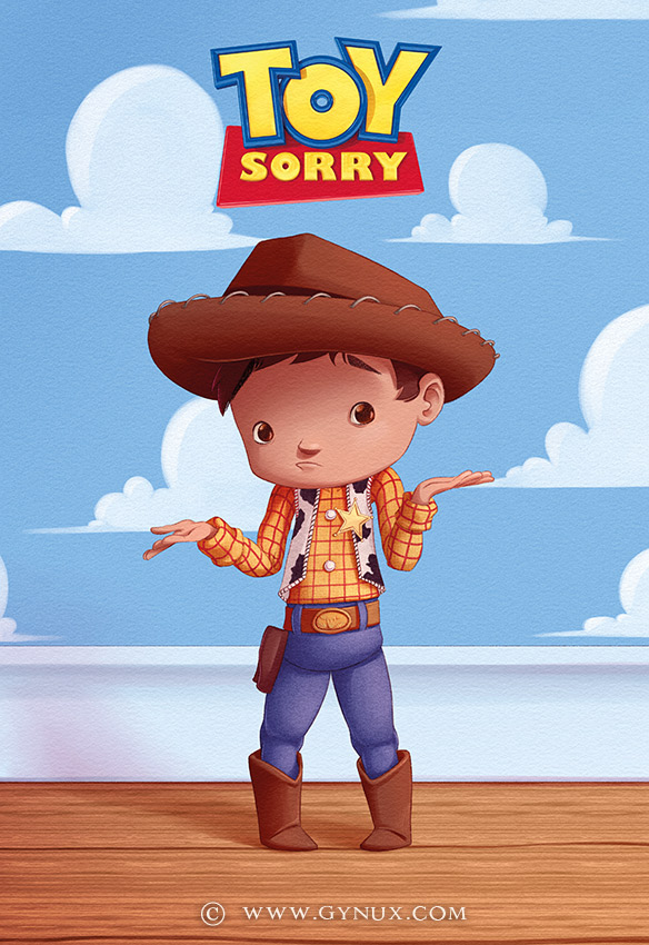 Little Woody being sorry