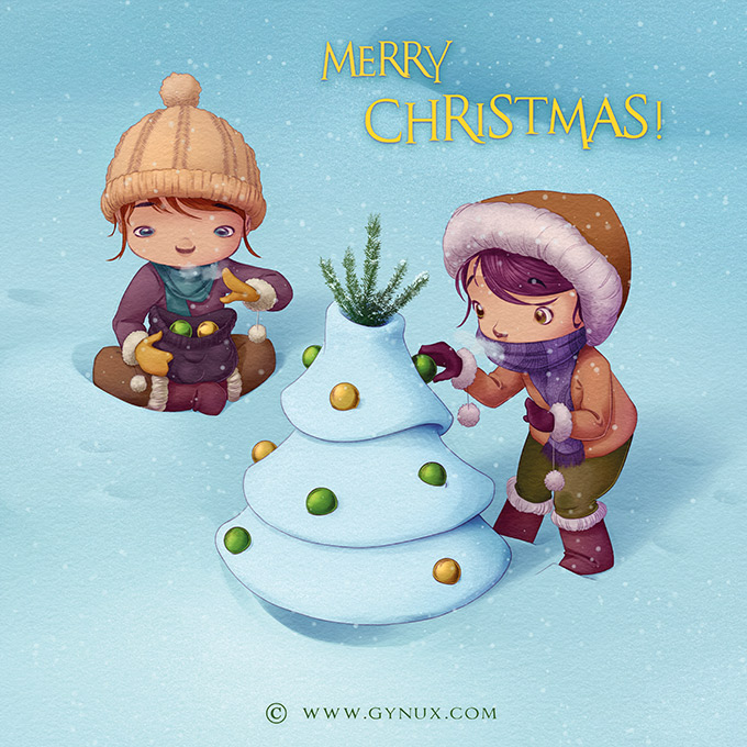 two kids decorating a snowy christmas tree